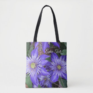 Blue Clematis Flowers Tote Bag