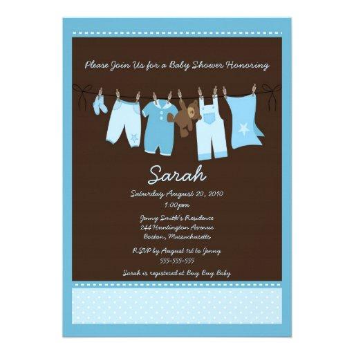 Blue Clothesline Baby Shower Invitation
