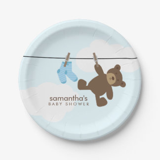 Blue Clothesline Boy Baby Shower Paper Plate