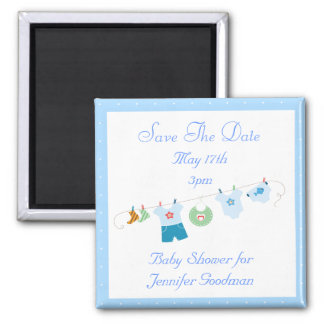 Blue Clothesline Save The Date Baby Shower Square Magnet