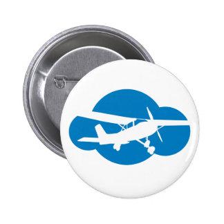 Blue Cloud & Aviation Plane 6 Cm Round Badge