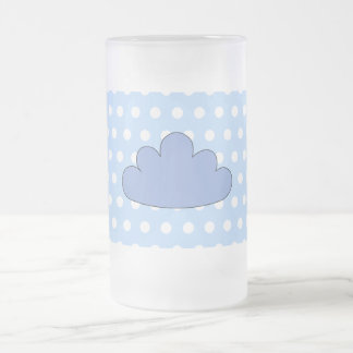 Blue Cloud on Blue and White Polka Dots. Frosted Glass Mug