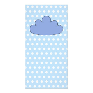 Blue Cloud on Blue and White Polka Dots. Photo Cards