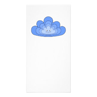 Blue Cloud with Smile on White Photo Card