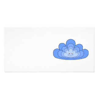 Blue Cloud with Smile on White Photo Cards