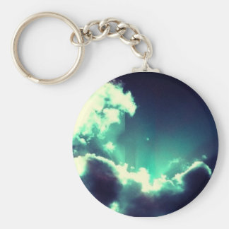 Blue clouds basic round button key ring