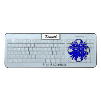 Blue Clover Ribbon by Kenneth Yoncich Wireless Keyboard