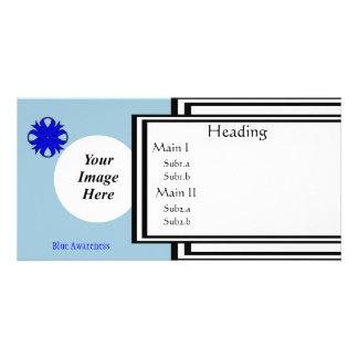 Blue Clover Ribbon Template Customized Photo Card