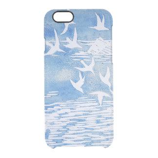 Blue Coast Birds Modern Watercolor Art Clear iPhone 6/6S Case