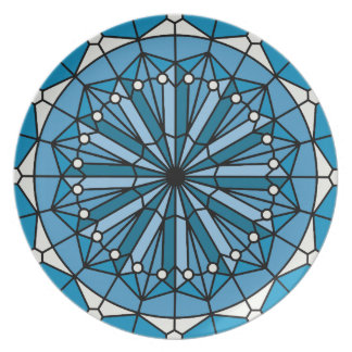 Blue Coastal Decor Stained Glass Style Party Plates