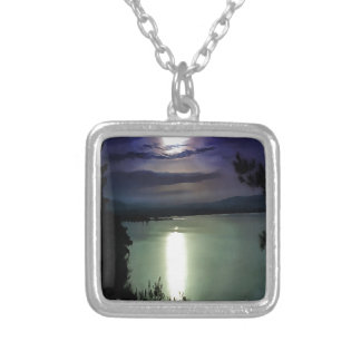 Blue Coastal Sunset Silver Plated Necklace