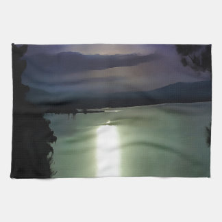 Blue Coastal Sunset Tea Towel