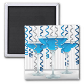 Blue cocktail and ribbon square magnet