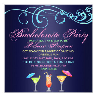 Blue Cocktail Time Bachelorette Party Invitation