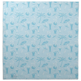 Blue Cocktails and Palm Trees Pattern Napkin