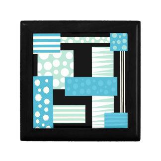 Blue collage small square gift box