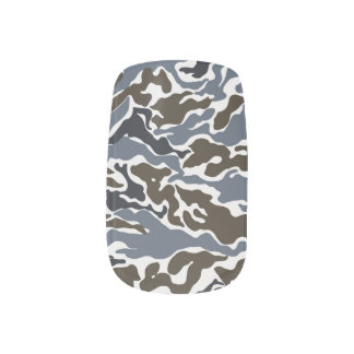 Blue color camouflage pattern minx nail art