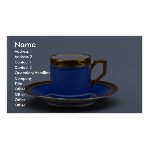 Blue colored 20th century coffee cup and saucer business cards