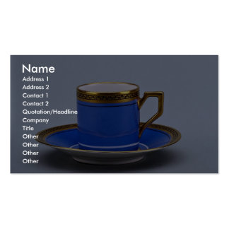 Blue colored 20th century coffee cup and saucer pack of standard business cards