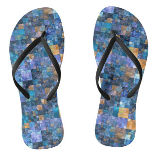 Blue Colorful Checkered Mosaic Flip Flops