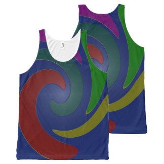 blue Colorful Design All-Over Print Tank Top