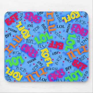 Blue Colorful Electronic Texting Art Abbreviation Mouse Pad