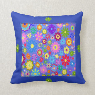 Blue Colorful Flowers Throw Pillow