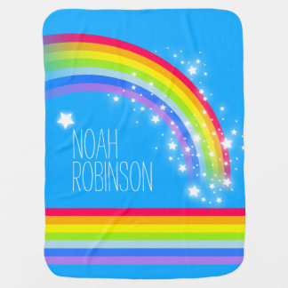 Blue colorful name rainbow stars baby blanket