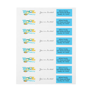 Blue Colorful Pool Party Wraparound Address Label