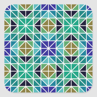 Blue colorful tiled mosaic square stickers