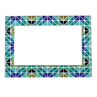 Blue colorful triangle mosaic magnetic frame