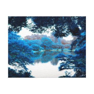 Blue colour effected cool, unique nature, lake canvas print