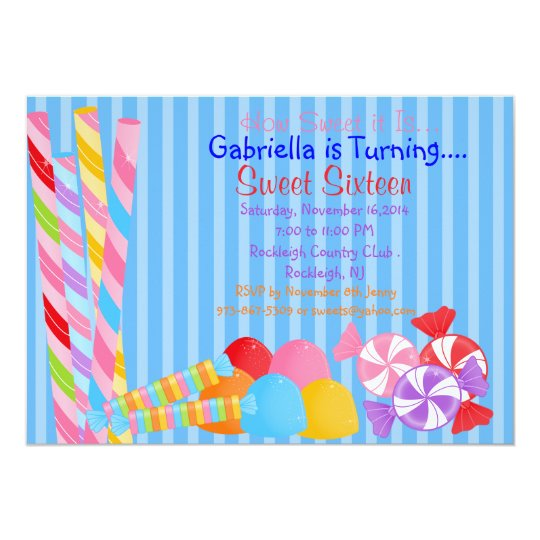 Blue Colourful Lots of Candy Sweet 16 Invitation