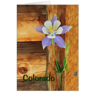 Blue Columbine and Wood Missing You Card