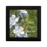 Blue Columbine Flowers Wedding Small Square Gift Box