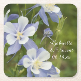 Blue Columbine Flowers Wedding Square Paper Coaster