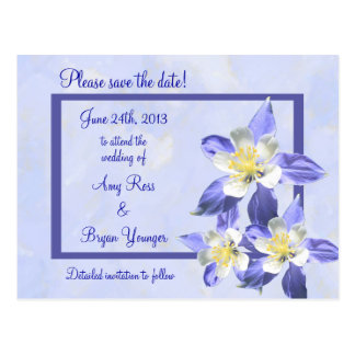 Blue Columbine Save the Date Wedding Postcard