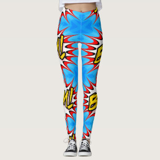 blue comic bang womens leggings