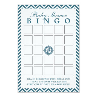 Blue Compass Chevron Baby Shower Bingo Cards