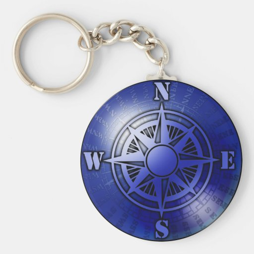 Blue compass rose key chain
