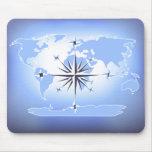 Blue Compass Rose World Map Mousepad