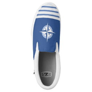 Blue Compass Rose Zipz Slip On Shoe