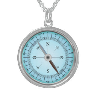 blue compass sterling silver necklace