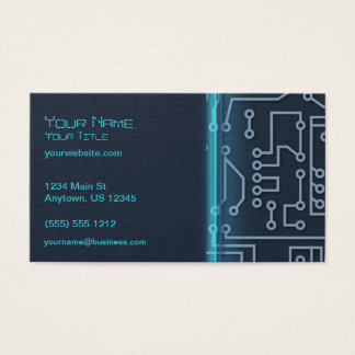 Blue Computer Circuitry Business Card