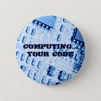 Blue Computer Motherboard 6 Cm Round Badge