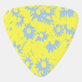 Blue Cone Flowers with Yellow Background Plectrum