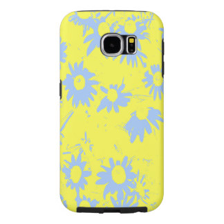Blue Cone Flowers with Yellow Background Samsung Galaxy S6 Cases