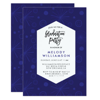 Blue Confetti Graduation Party Card
