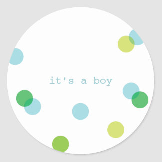 Blue confetti | It's a boy stickers Round Sticker