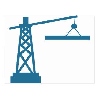 Blue Construction Crane Building Icon Postcard